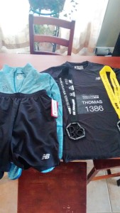 My teeny tiny running gear. Nice race kit though.